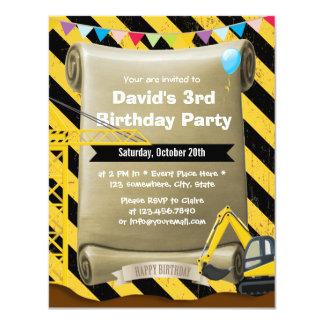 Jungen-Bau-Bagger-Geburtstags-Party 10,8 X 14 Cm Einladungskarte