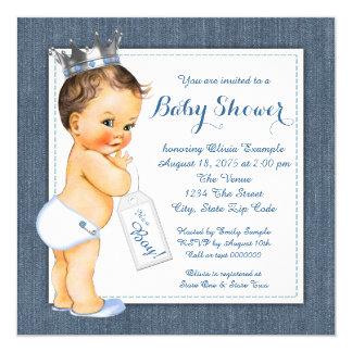 Jungen-blaue Denim-Babyparty Quadratische 13,3 Cm Einladungskarte