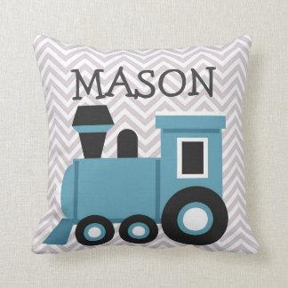 Jungen-blauer Zug-personalisiertes Kissen