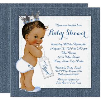 Jungen-blaues Denim-ethnische Babyparty Quadratische 13,3 Cm Einladungskarte