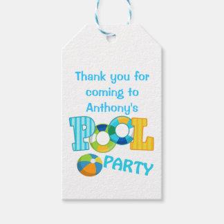Jungen-blaues Pool-Party-personalisierte Geschenkanhänger