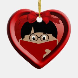 Jungen-Buch-Liebhaber scherzt Herz-Verzierung 1 Keramik Herz-Ornament