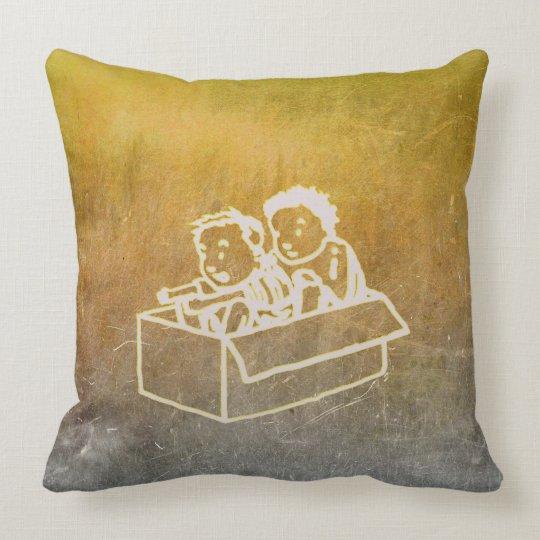 Jungen der Tafel-zwei im Kasten kritzelt Wand-Grau Kissen