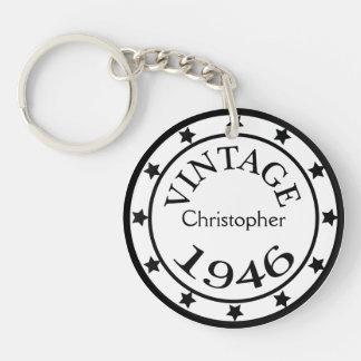 Jungen der Vintagen Name mit 1946 Beidseitiger Runder Acryl Schlüsselanhänger