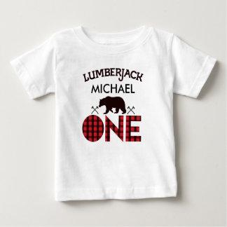 Jungen-Holzfäller-Bärn-Pfeil-1. Geburtstags-T - Baby T-shirt