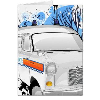 Jungen im Blau - Retro Polizeiwagen 1988 Karte