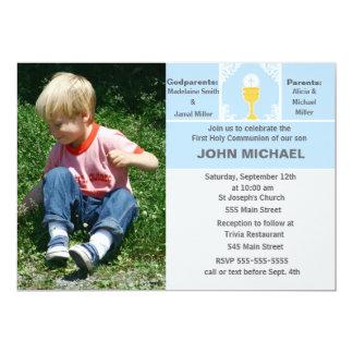 Jungen-Kommunions-Einladungs-blaue Foto-Karte Karte