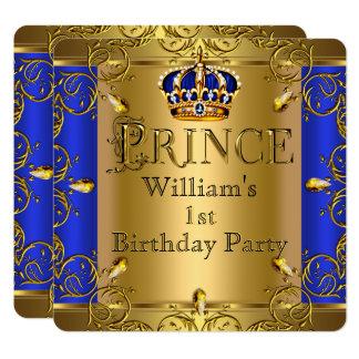 Jungen-Königsblau-Goldkrone Prinz-1. Geburtstag Karte