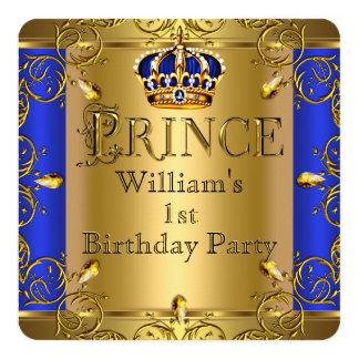 Jungen-Königsblau-Goldkrone Prinz-1. Geburtstag Quadratische 13,3 Cm Einladungskarte