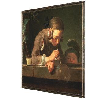 Jungen-Malerei der Blasen-32x32 Leinwanddruck
