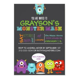 Jungen-Monster-Brei-Geburtstags-Party Einladung