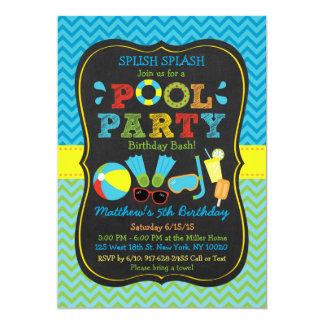 Jungen-Pool-Party-Tafel-Geburtstags-Einladungen 12,7 X 17,8 Cm Einladungskarte