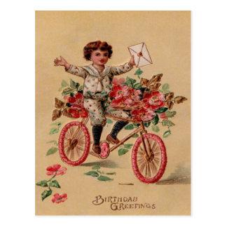 Jungen-Post-Rosa-Blumen-Fahrrad-Geburtstag Postkarte