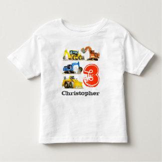 Jungen-riesige Bau-Gräber-3. Geburtstag Kleinkinder T-shirt