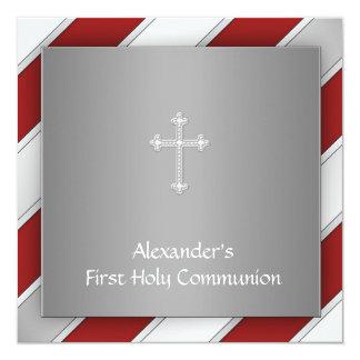 Jungen rot und silberne erste Kommunion Quadratische 13,3 Cm Einladungskarte