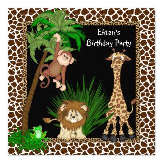 Jungen-Safari-Geburtstags-Party Quadratische 13,3 Cm Einladungskarte