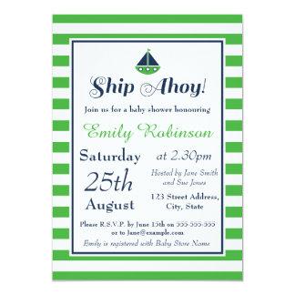 Jungen-SeeBabyparty-Einladung - Schiff ahoi! 12,7 X 17,8 Cm Einladungskarte