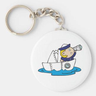 Jungen-Seemann im Boot Schlüsselanhänger