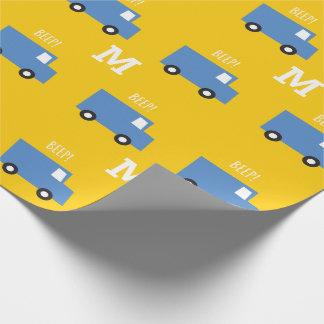 Jungen-Spielwaren-Transport-blauer Geschenkpapier