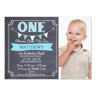 Jungen-Tafel-Flaggen-1. Geburtstags-Einladung Karte