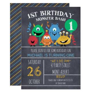 Jungen-Tafel-Monster-1. Geburtstags-Einladung Karte