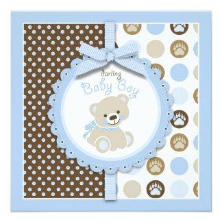 Jungen-Teddybär-Babyparty-Einladungs-Quadrat Einladungen