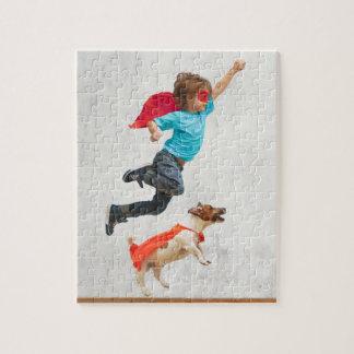 Jungen-und HundeSuperhelden Puzzle