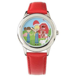 Jungen-und Mädchen-Bauers-Scheune und Tiere Armbanduhr
