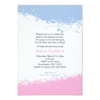 Jungen-und Mädchen-Zwillings-Babyparty lädt ein 12,7 X 17,8 Cm Einladungskarte