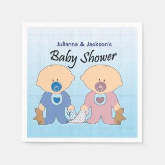 Jungen-und Mädchen-Zwillings-Babyparty-Servietten Servietten