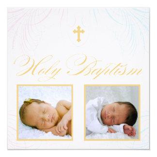 Jungen-und Mädchen-Zwillings-Foto-Taufe-Einladung Quadratische 13,3 Cm Einladungskarte