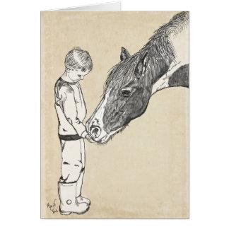 Jungen-und Pferdeleichte Gesprächs-Anmerkung Karte