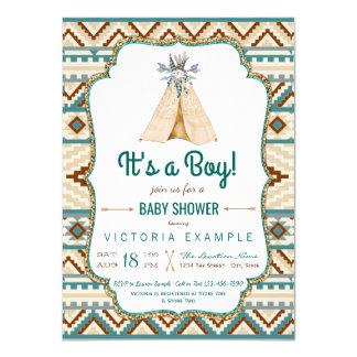 Jungenstammes- Teepee-Azteke-Babyparty Karte