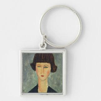 Junger Brunette, 1917 (Öl auf Leinwand) Schlüsselanhänger