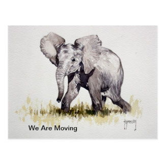 Junger Elefant bewegen wir Postkarte