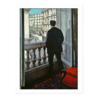 Junger Mann am Fenster durch Gustave Caillebotte Postkarte