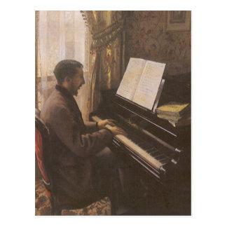Junger Mann, der das Klavier durch Gustave Postkarte