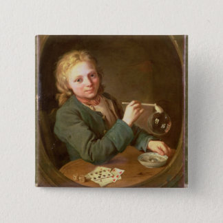 Junger Mann-durchbrennenblasen von einem Quadratischer Button 5,1 Cm