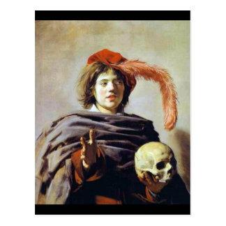 Junger Mann mit einem Schädel Postkarte