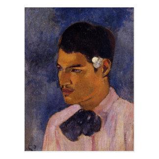"""""""Junger Mann mit einer Blume"""" - Paul Gauguin Postkarte"""