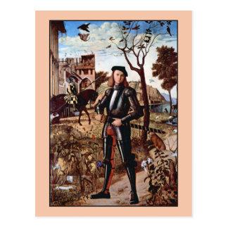 Junger Ritter in einer Landschaft durch Vittore Postkarte