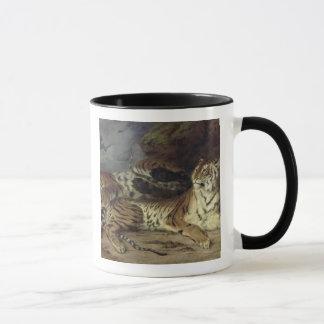 Junger Tiger, der mit seiner Mutter, 1830 spielt Tasse