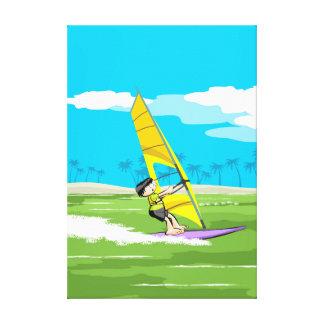Junger Windsurf segelt im Strand Leinwanddruck