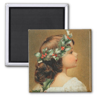 Junges Mädchen mit Stechpalmen-Vintagem Magneten Quadratischer Magnet