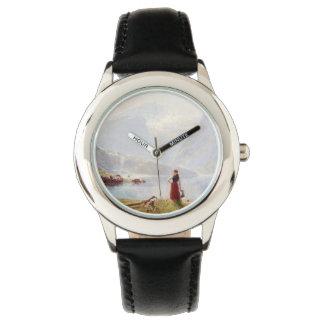 Junges Mädchen neben dem Fjord Armbanduhr