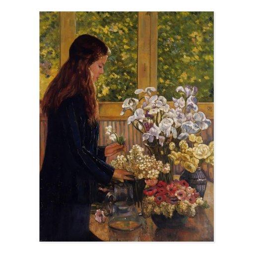 Junges Mädchen, Vase Blumen durch Theo Postkarten