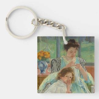 Junges Mutter-Nähen Schlüsselanhänger