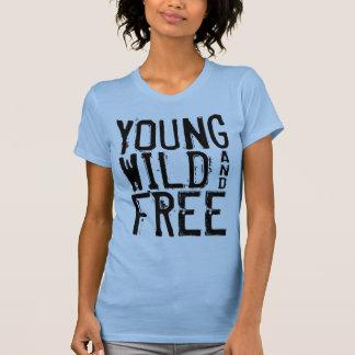 Junges wildes und freies Damen-Trägershirt-Blau T-Shirt