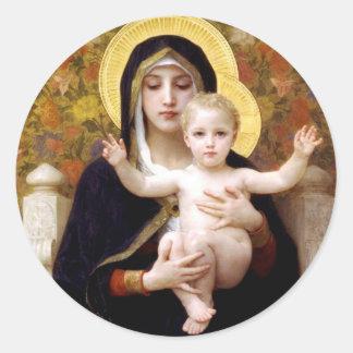Jungfrau der Lilien, William-Adolphe Bouguereau Runder Aufkleber