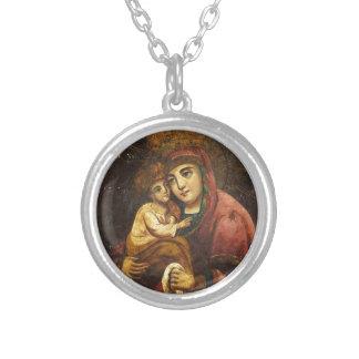 Jungfrau der Pochayiv Ukrainer-Ikone Versilberte Kette